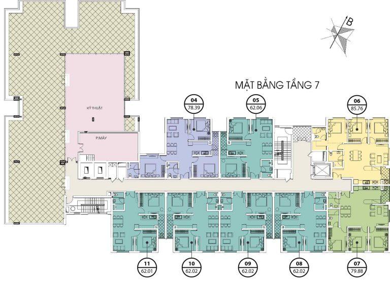 chung cư valencia garden mặt bằng tòa c tầng 7