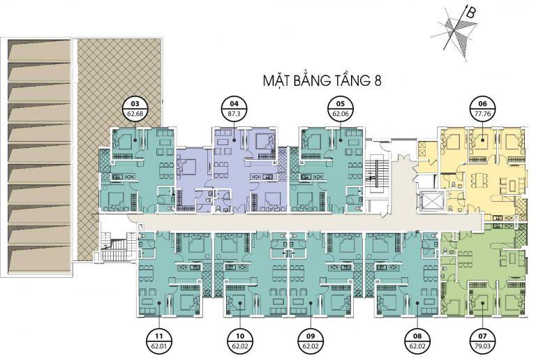 chung cư valencia garden mặt bằng tòa c tầng 8