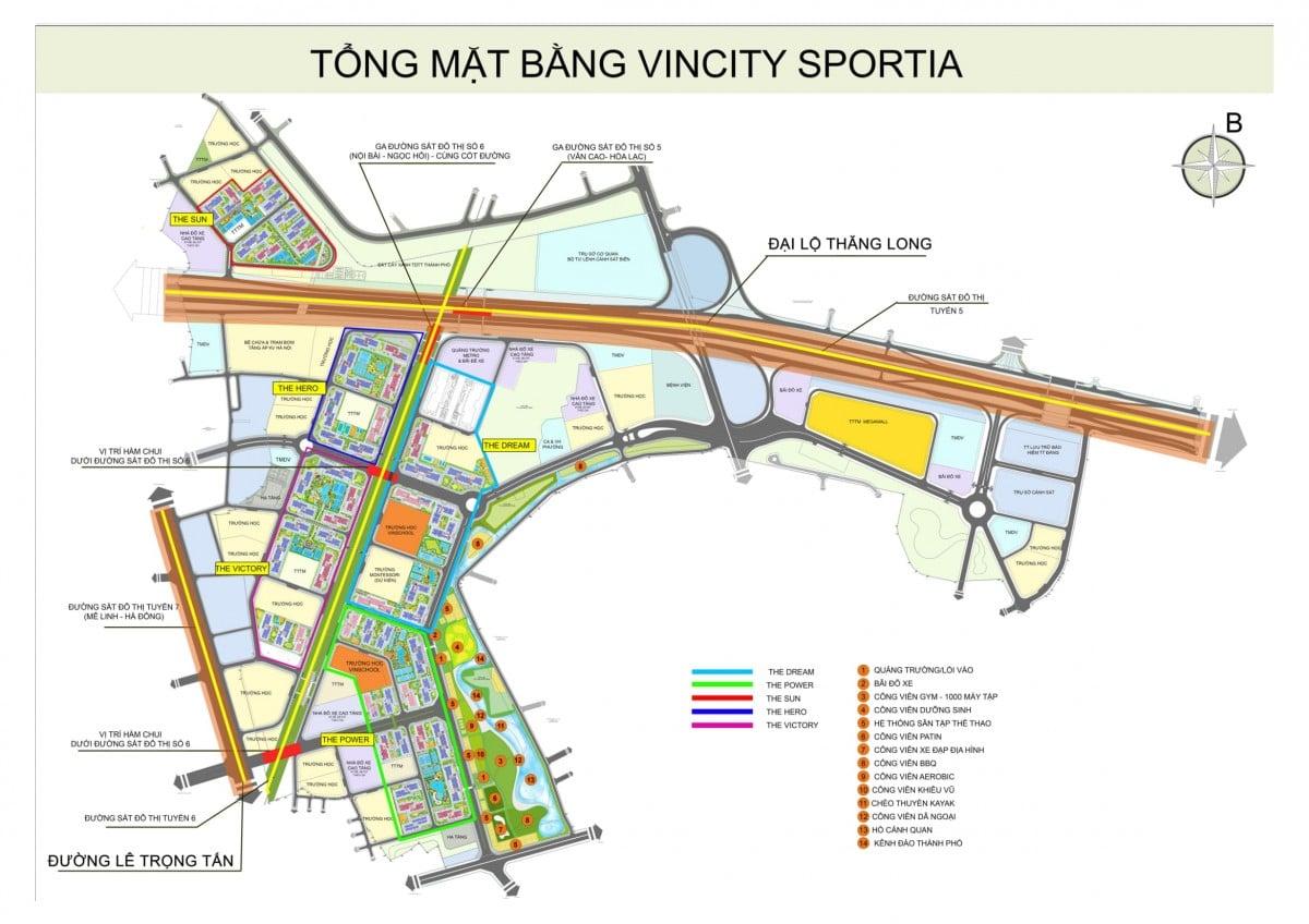 mặt bằng phân khu Dự án Vincity Sportia Tây Mỗ Đại Mỗ Hà Nội