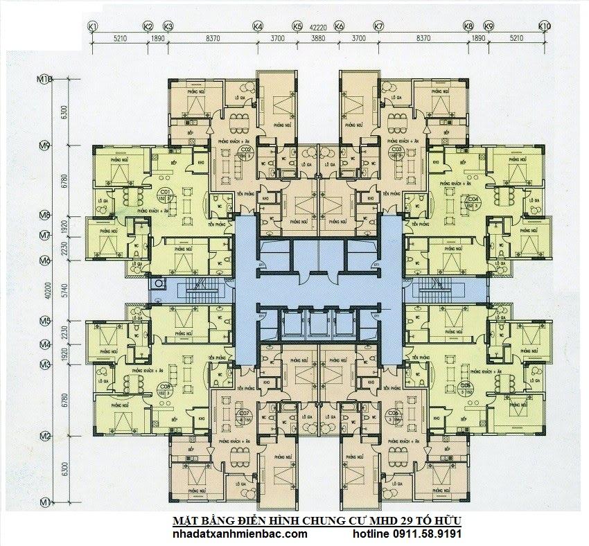 Mặt bằng điển hình Chung cư MHD Trung Văn