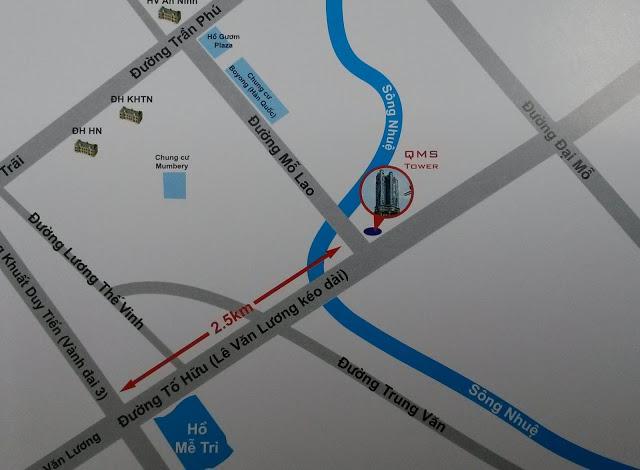 Vị trí Vàng đắc địa mặt đường Tố Hữu của Chung cư QMS Tower