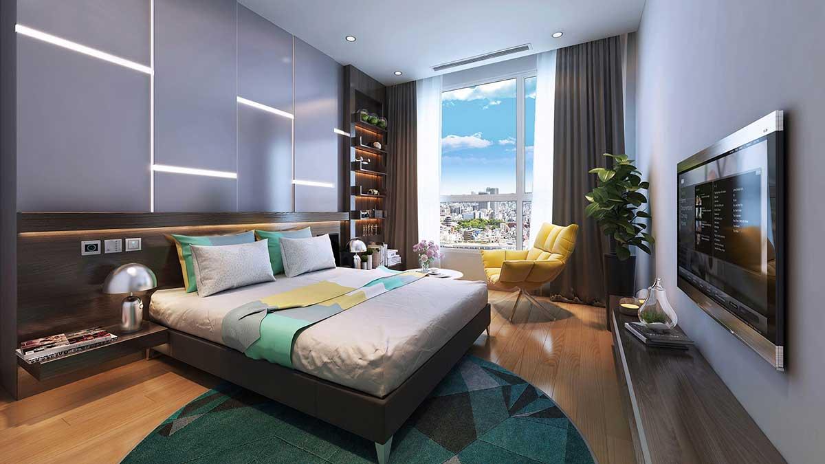 Phòng ngủ Chung cư QMS Tower sang trọng, ánh sáng tự nhiên