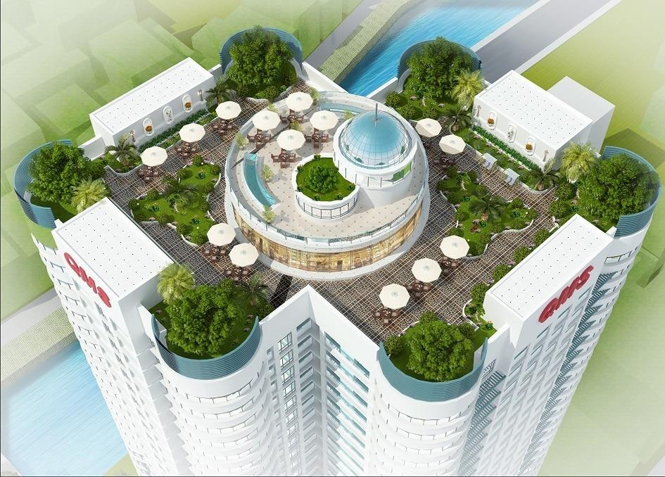 Vườn thượng uyển có tượng tam bảo tại Chung cư QMS Tower