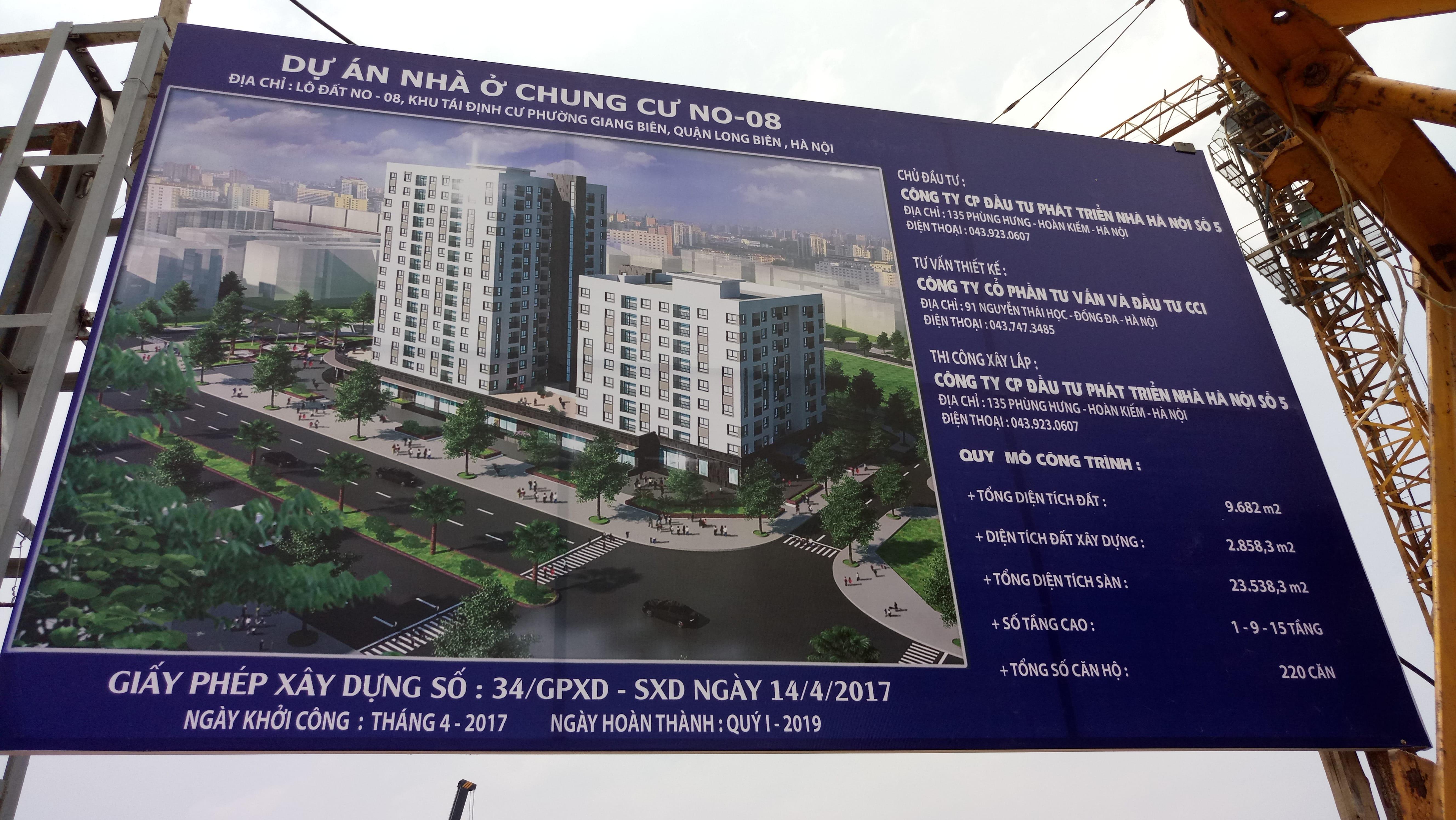 Bảng Thông tin Dự án Chung cư No-08 Giang Biên