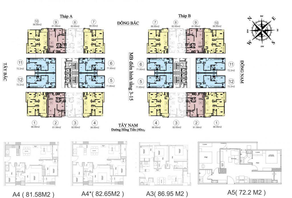 Mặt bằng tháp đôi Chung cư HC Goden City tầng 3 đến 15