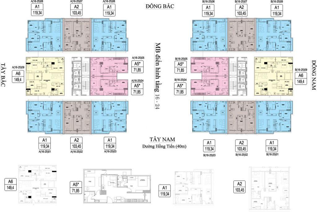 Mặt bằng Chung cư HC Goden City tầng 16 đến 24