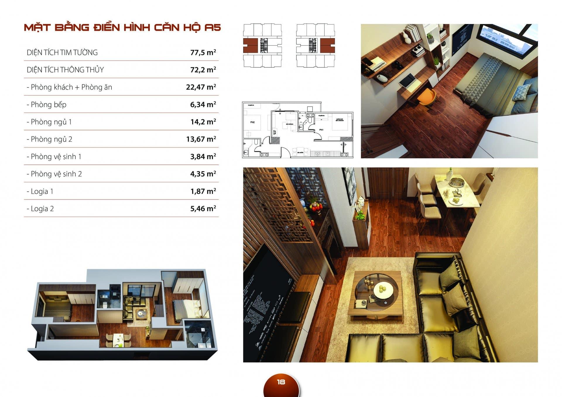 Căn hộ A5 Diện tích thông thủy 72,2m2 thiết kế 02 phòng ngủ