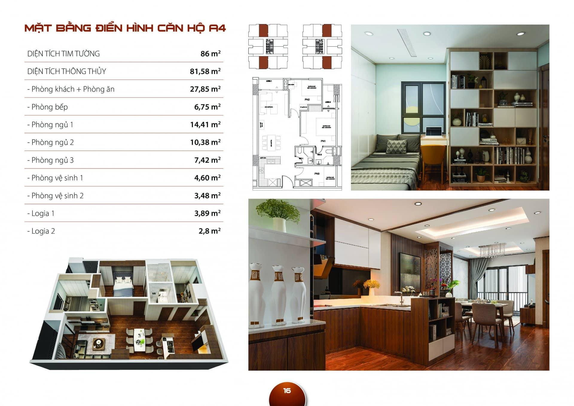 Căn hộ A4 Diện tích thông thủy 81,58m2 thiết kế 03 phòng ngủ