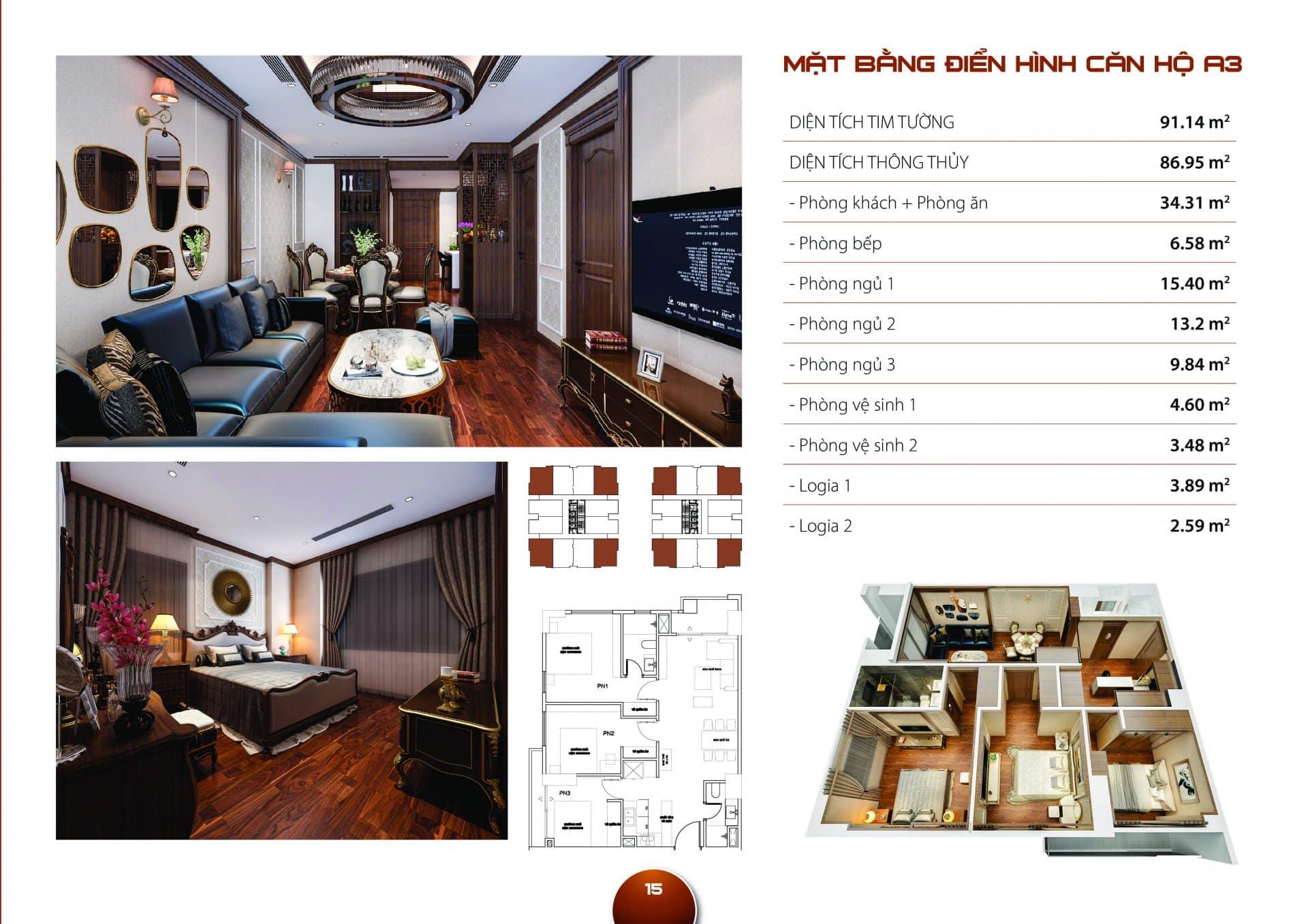 Căn hộ A3 Diện tích thông thủy 86,95m2 thiết kế 03 phòng ngủ