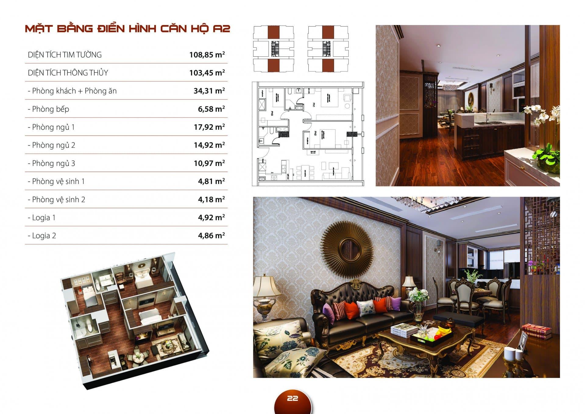 Căn hộ A2 Diện tích thông thủy 103,45m2 thiết kế 03 phòng ngủ