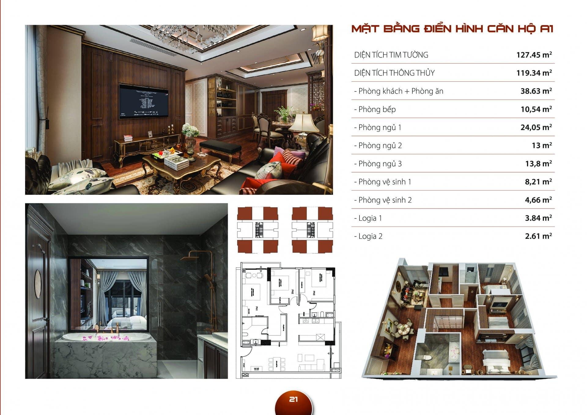 Căn hộ A1 Diện tích thông thủy 119,34m2 thiết kế 03 phòng ngủ