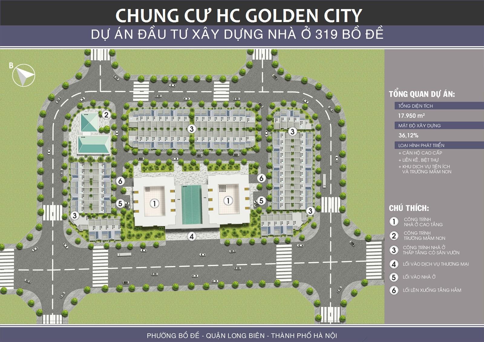 Mặt bằng Tổng thể, Tiện ích Dự án Chung cư HC Golden City