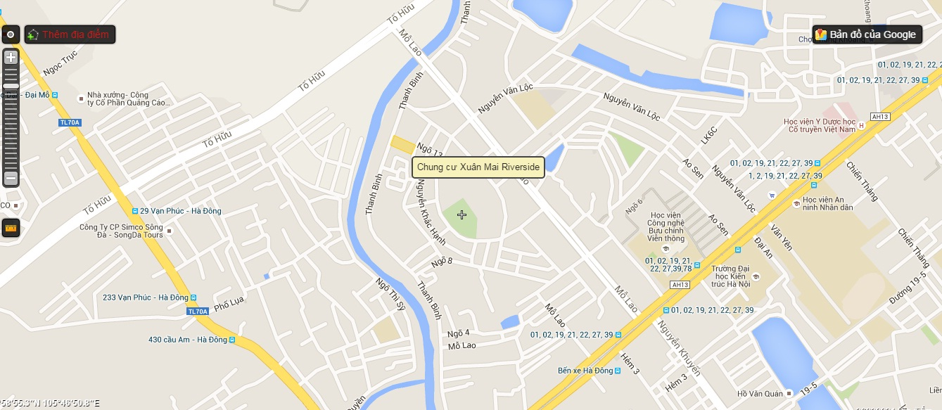 Vị trí Dự án Chung cư Xuân Mai Riverside