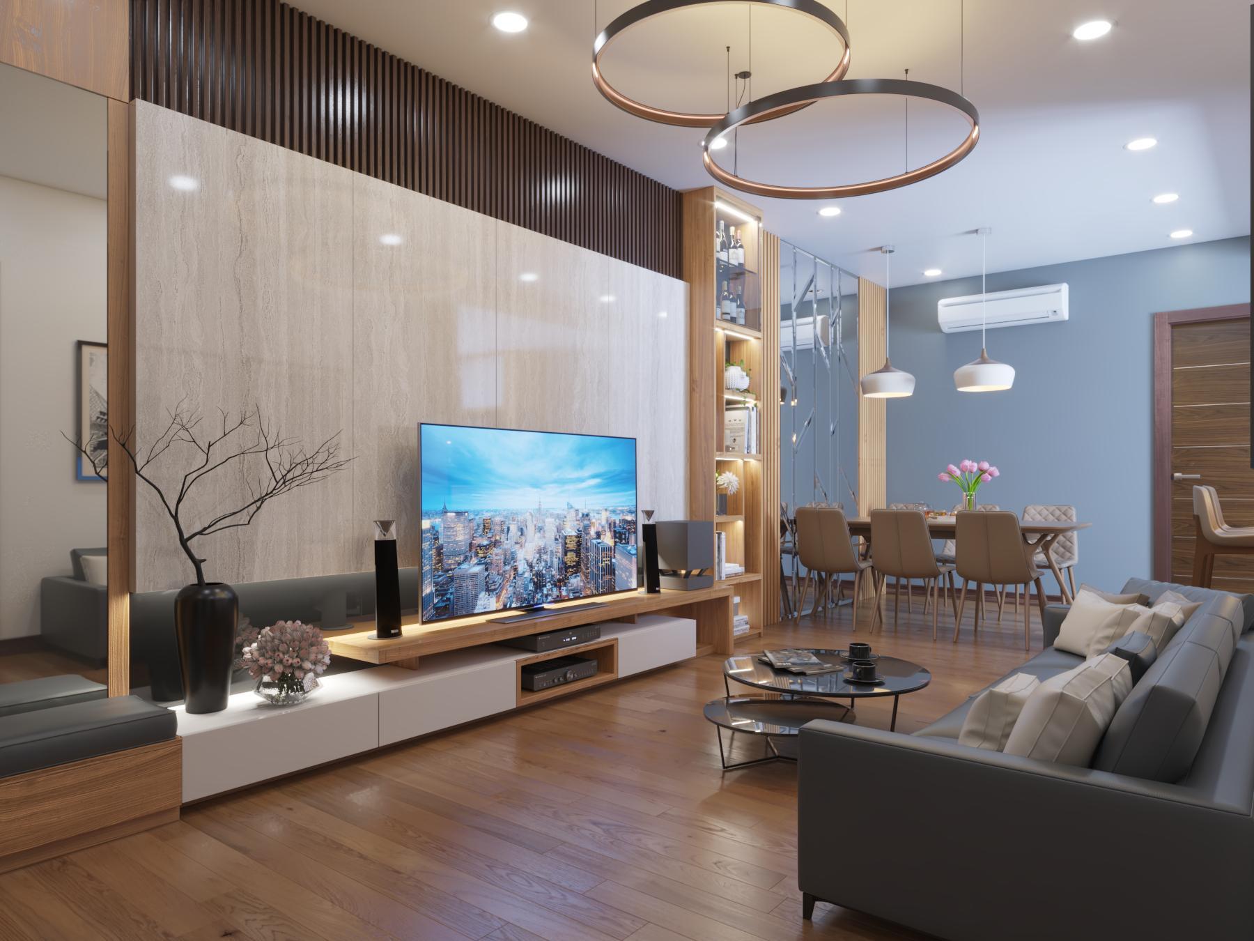 Phòng khách căn hộ mẫu số 10 Dự án Phú Thịnh Green Park HTV Complex