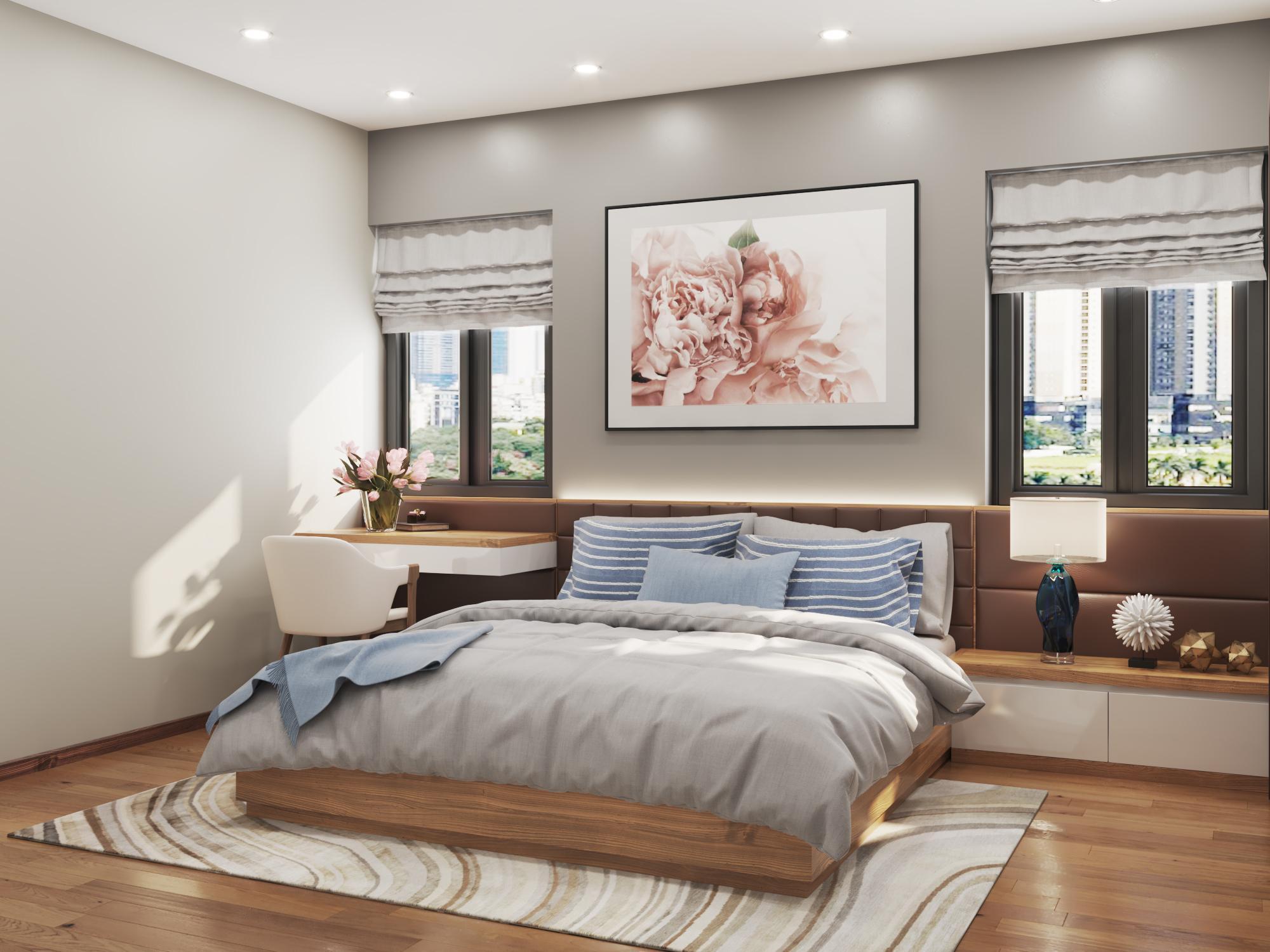 Phòng master căn hộ mẫu số 10 Dự án Phú Thịnh Green Park HTV complex