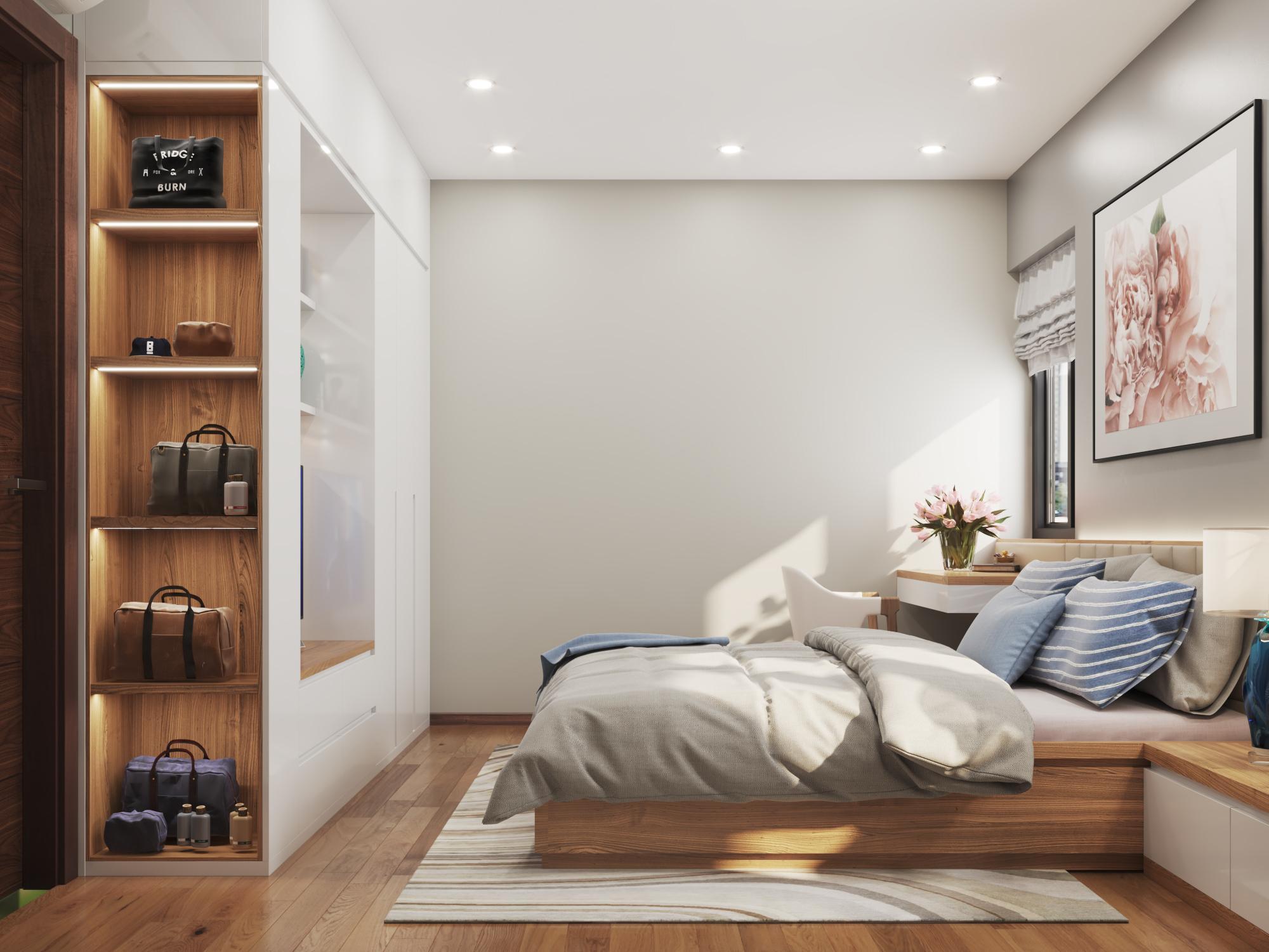 Phòng ngủ căn hộ mẫu số 10 Dự án Phú Thịnh Green Park HTV complex