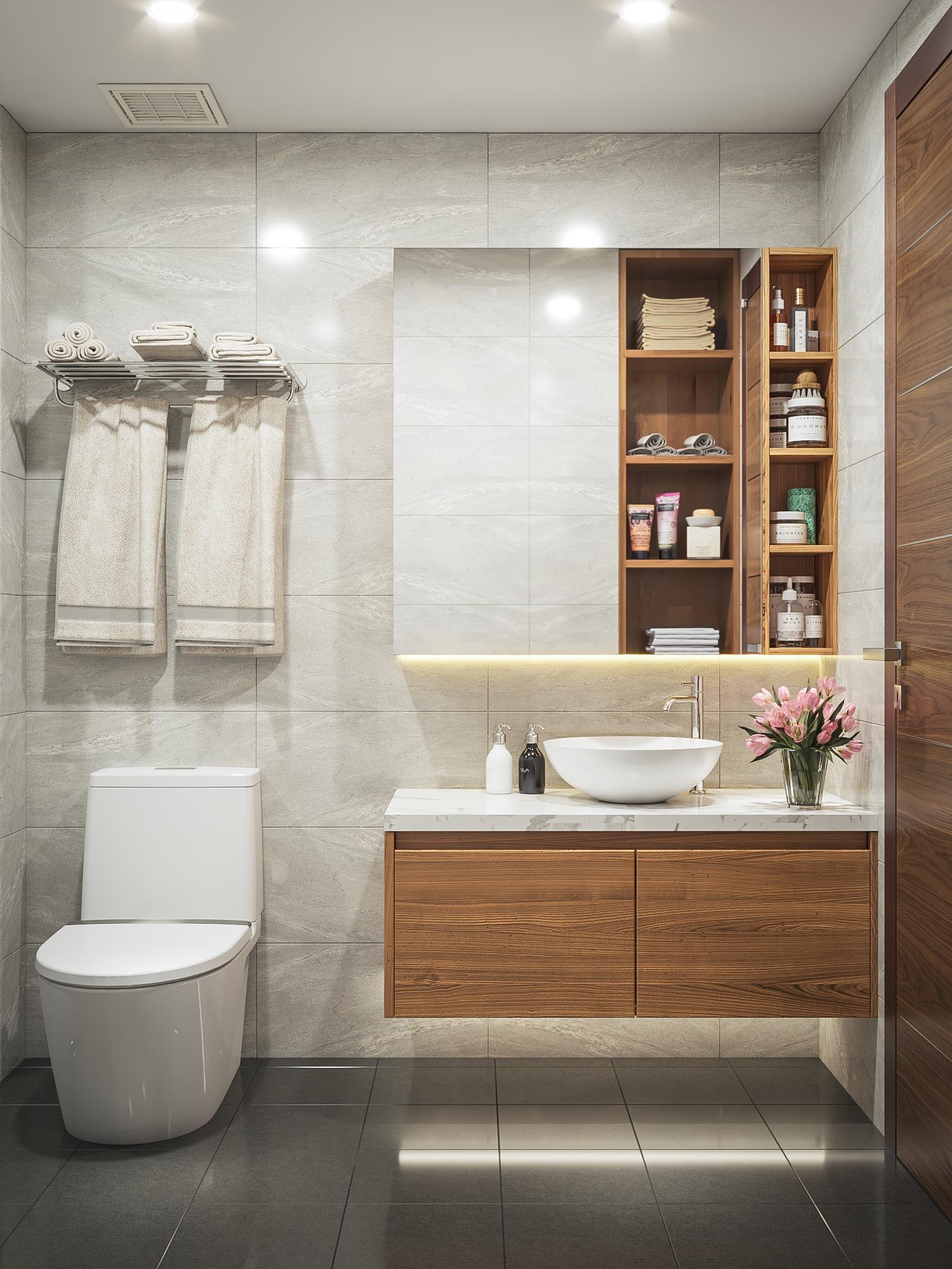 Phòng tắm căn hộ mẫu số 10 Dự án Phú Thịnh Green Park HTV complex