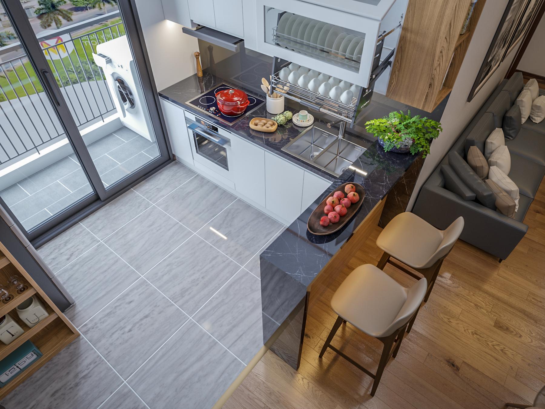 Bếp + ban công căn hộ mẫu số 10 Dự án Phú Thịnh Green Park HTV Complex