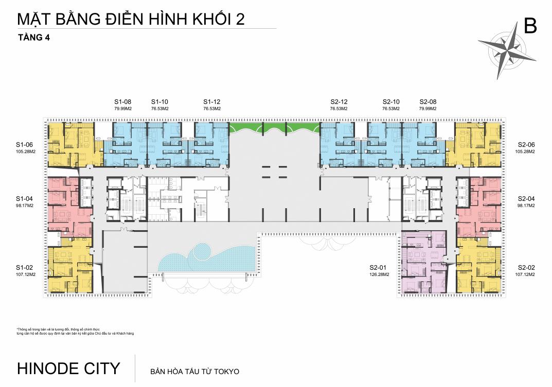Mặt bằng Tầng 2 Chung cư 201 Minh Khai Hinode City