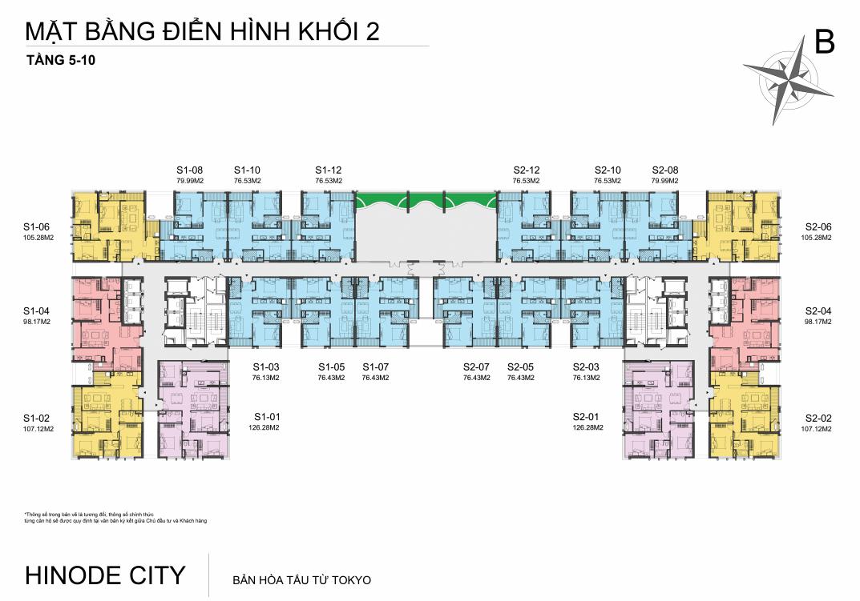 Mặt bằng Tầng 5-10 Chung cư 201 Minh Khai Hinode City