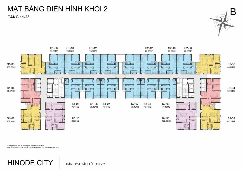 Mặt bằng Tầng 11-23 Chung cư 201 Minh Khai Hinode City