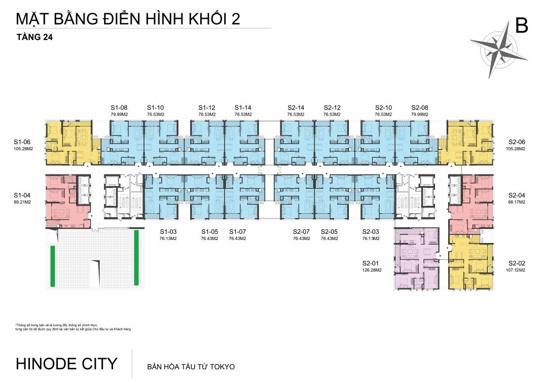 Mặt bằng Tầng 24 Chung cư 201 Minh Khai Hinode City
