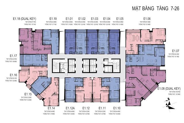 mặt bằng tầng 7-26 dự án Chung cư D' El Dorado Tân Hoàng Minh