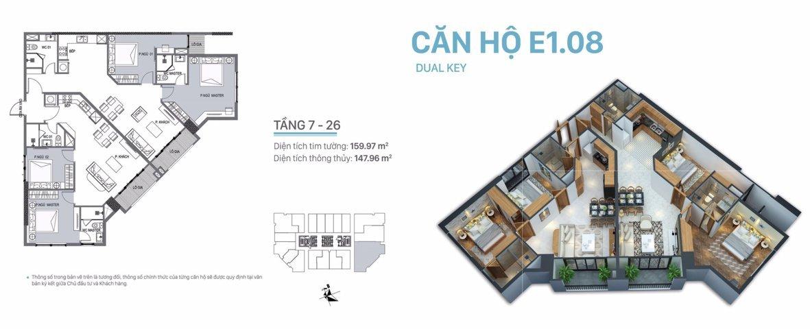 Căn hộ Dual key siêu đẳng cấp VIP nhất Dự án E1.08 3 ngủ + 2 bếp + 4 vệ sinh