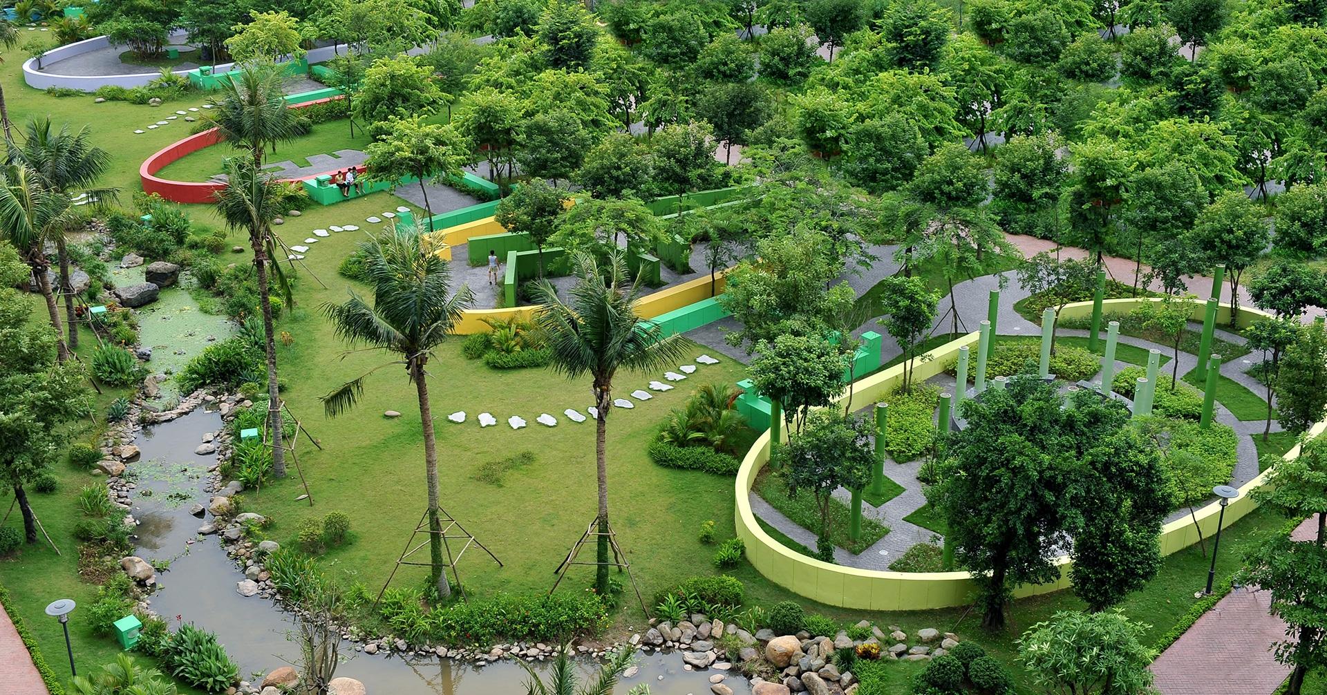 Công viên Trung tâm 6 giác quan hiện hữu chung cư hồng hà eco city