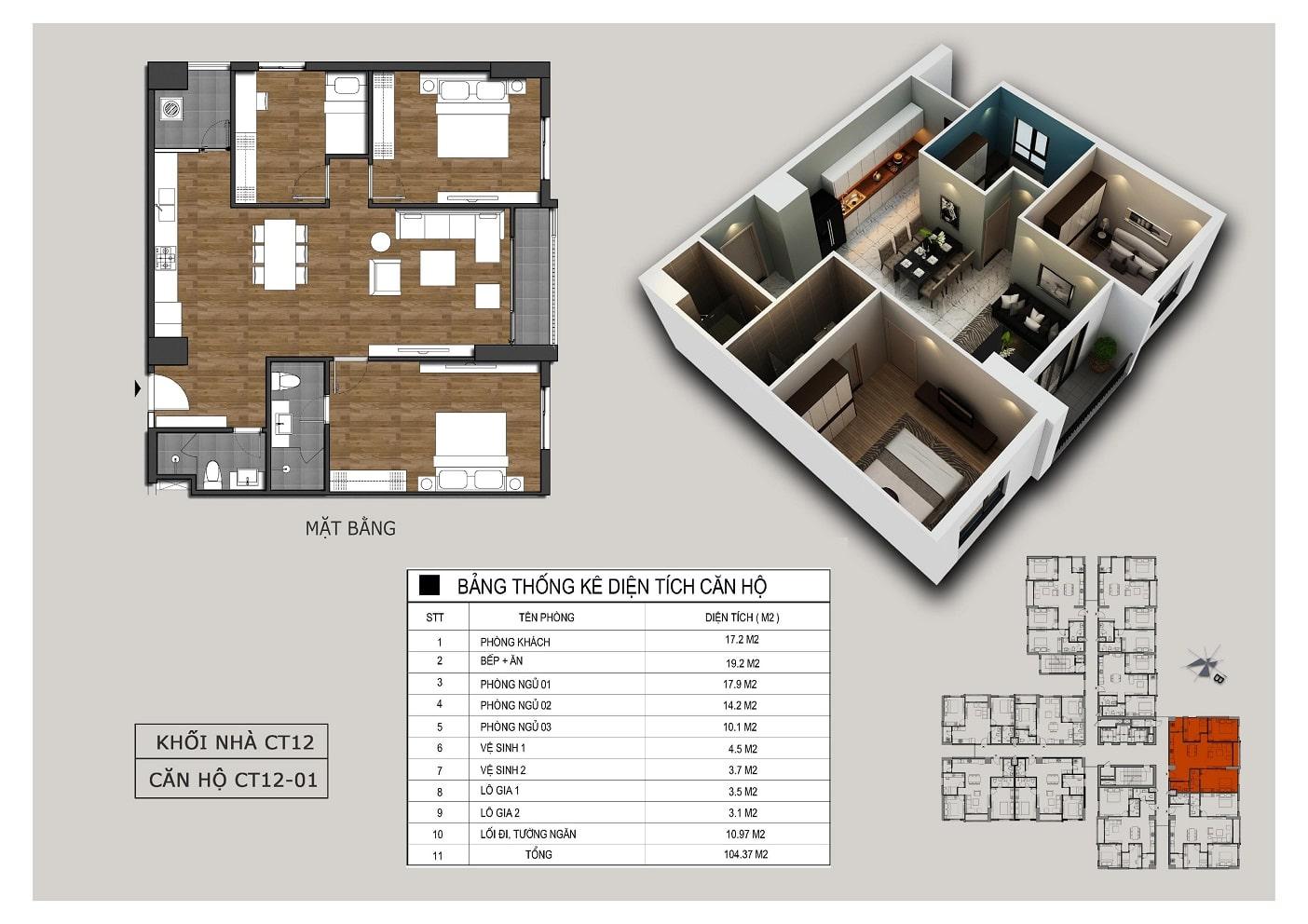 Thiết kế căn 01 tòa CT12 Rosa