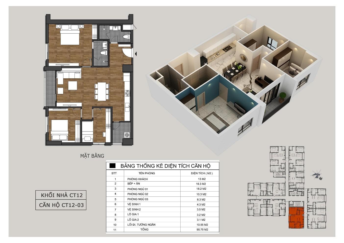 Thiết kế căn 03 tòa CT12 Rosa