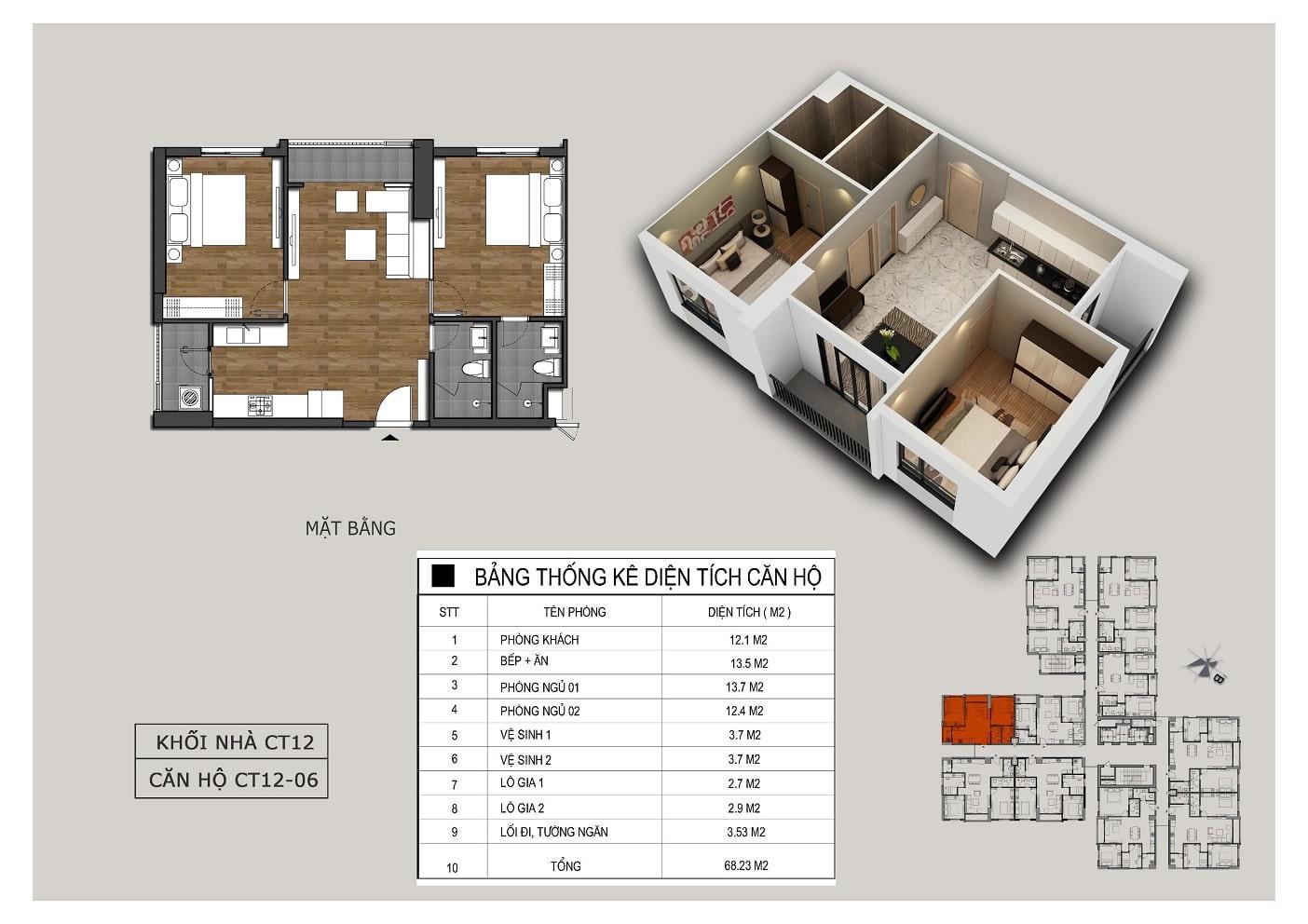 Thiết kế căn 06 tòa CT12 Rosa