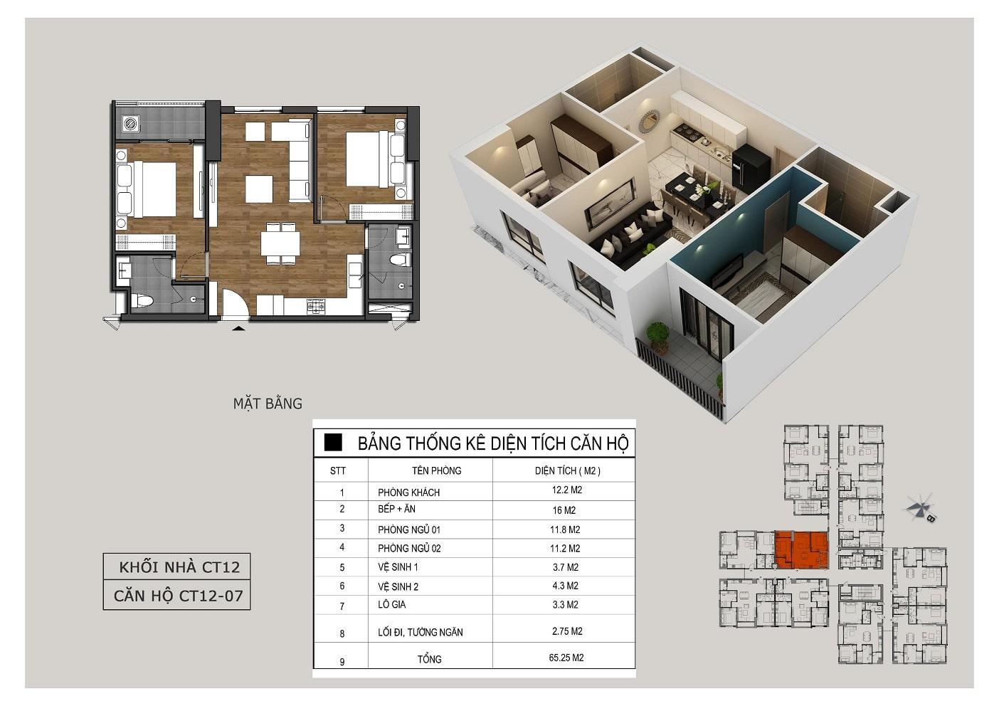 Thiết kế căn 07 tòa CT12 Rosa