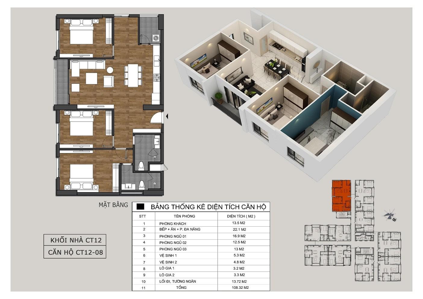Thiết kế căn 08 tòa CT12 Rosa