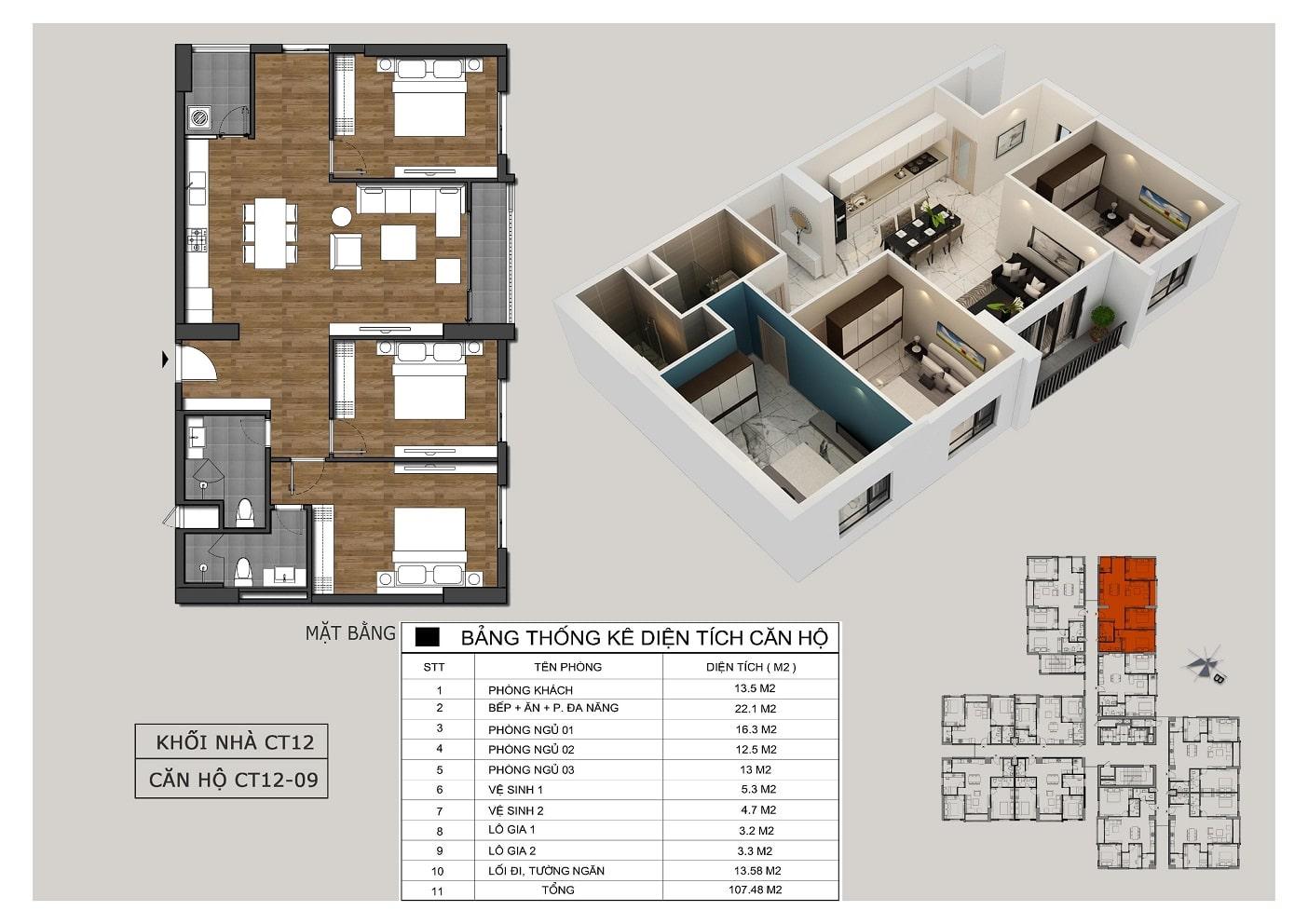 Thiết kế căn 09 tòa CT12 Rosa