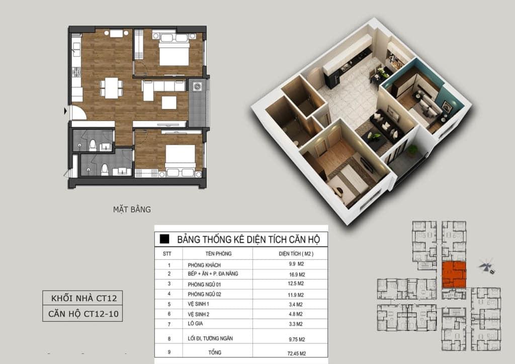 Thiết kế căn 10 tòa CT12 Rosa