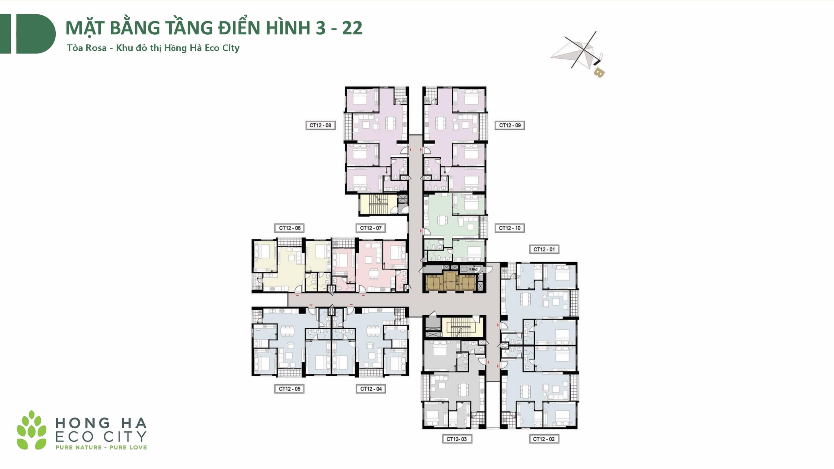 Mặt bằng tòa Rosa CT12 Dự án Hồng Hà Eco City