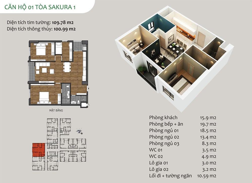 căn hộ 01 Tòa Sakura 1 - Dự án Hồng Hà Eco City