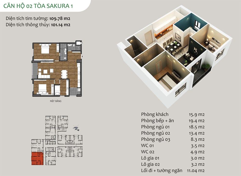 căn hộ 02 Tòa Sakura 1 - Dự án Hồng Hà Eco City