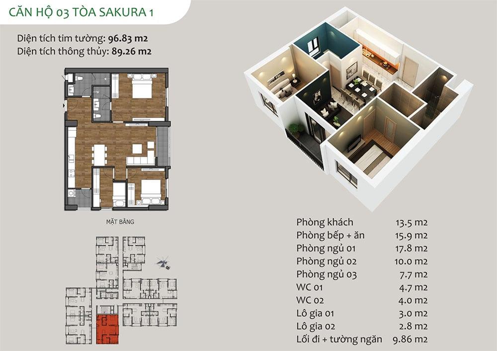 căn hộ 03 Tòa Sakura 1 - Dự án Hồng Hà Eco City