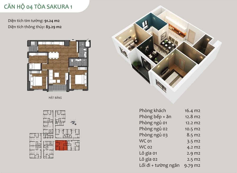 căn hộ 04 Tòa Sakura 1 - Dự án Hồng Hà Eco City