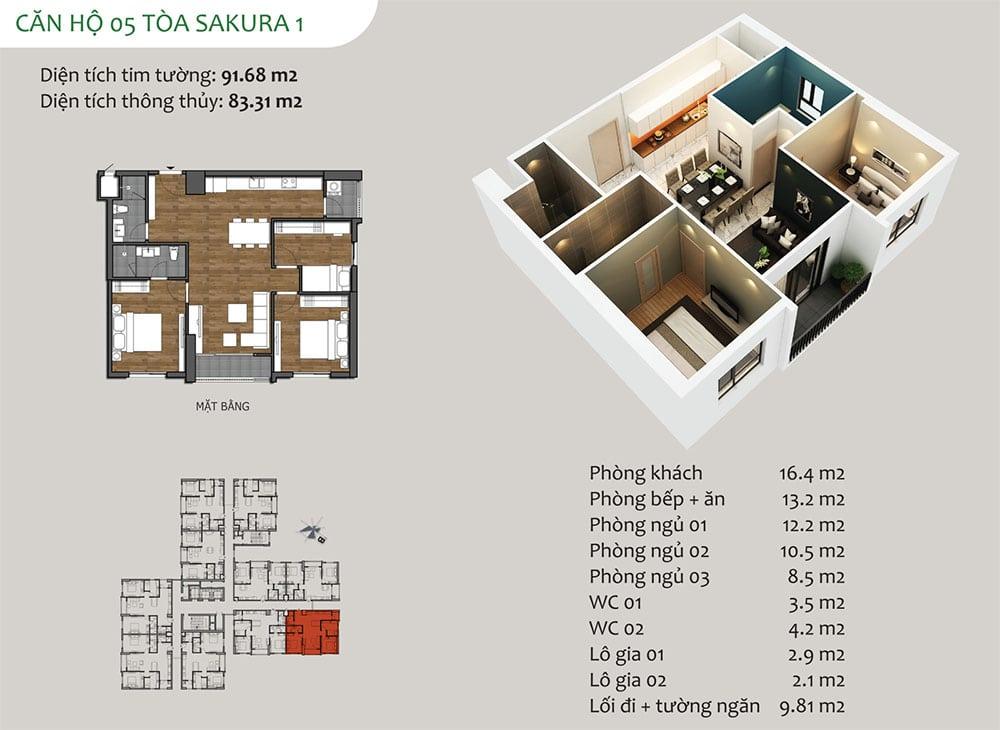 căn hộ 05 Tòa Sakura 1 - Dự án Hồng Hà Eco City