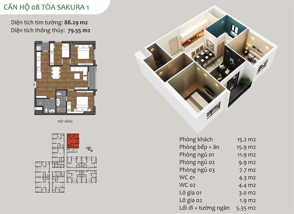 căn hộ 08 Tòa Sakura 1