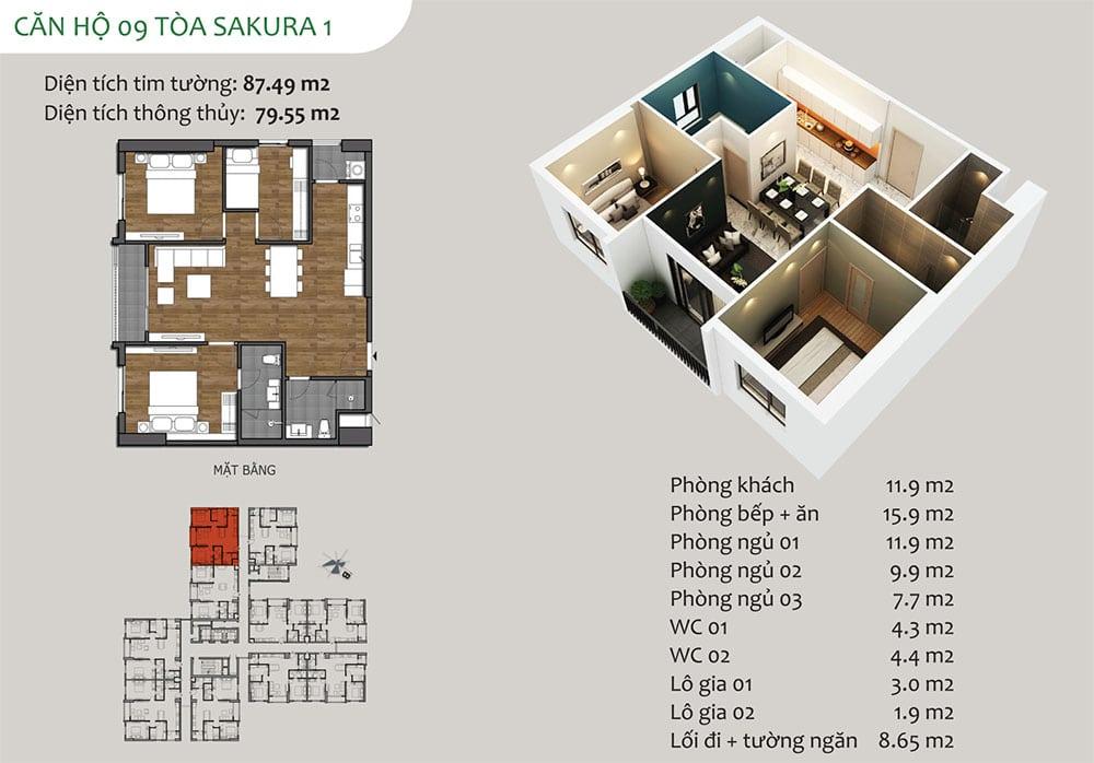 căn hộ 09 Tòa Sakura 1