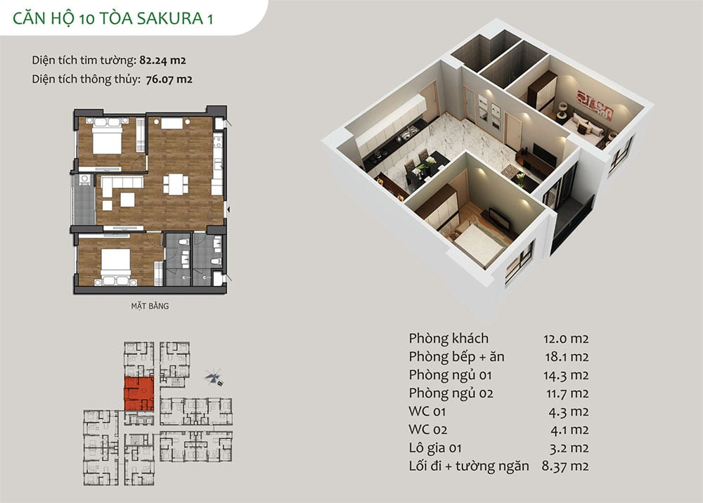 căn hộ 06 Tòa Sakura 1