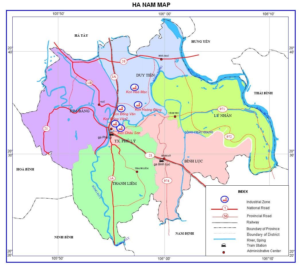 môi trường đầu tư tỉnh hà nam bản đồ hành chính tỉnh hà nam