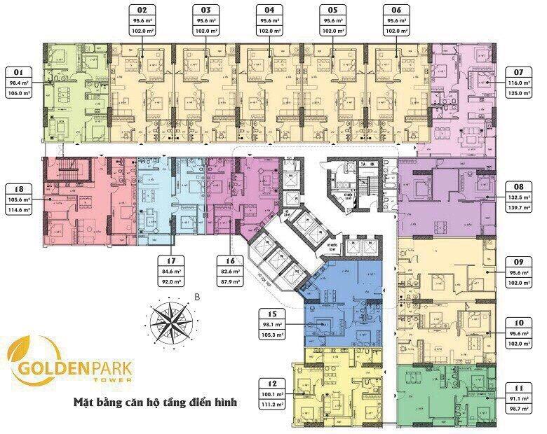 Mặt bằng Tầng điển hình 9 đến 31 căn hộ Chung cư Golden Park Tower