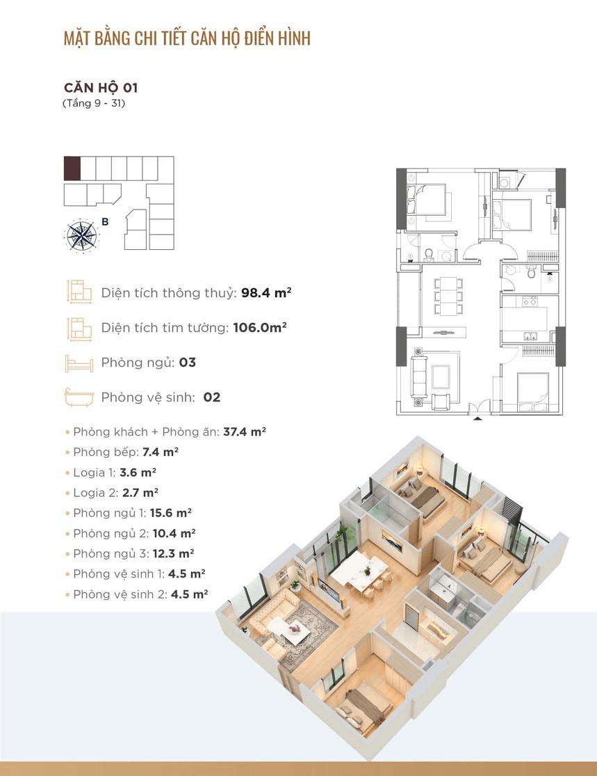 Thiết kế chi tiết căn hộ 01 Golden Park Tower