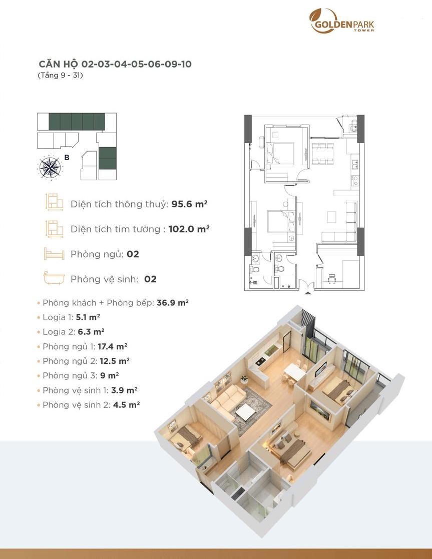 Thiết kế chi tiết căn hộ 02-03-04-05-06-09-10 Golden Park Tower
