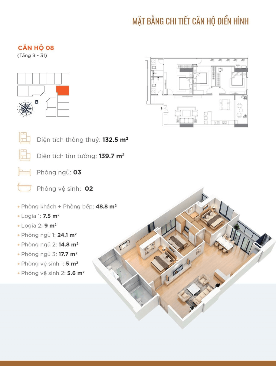 Thiết kế chi tiết căn hộ 08 Golden Park Tower